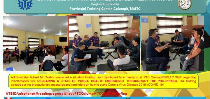 Attention sa lahat ng Trainees ng PTC Calumpit/BMLTC, Staff at mga kababayang Bulakenyo